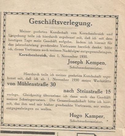 Schuh Kamper um 1930
